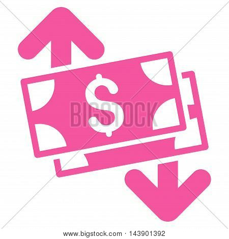 Banknotes Spending icon. Vector style is flat iconic symbol with rounded angles, pink color, white background.