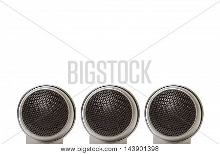 Old car audio tweeter speaker isolated on white background