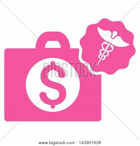 Medical Business icon. Vector style is flat iconic symbol with rounded angles, pink color, white background.