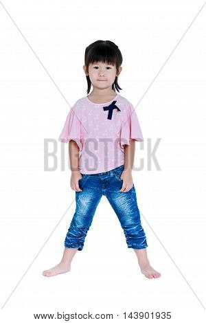 Happy Asian Child Posing In The Studio, Isolated On White Background.