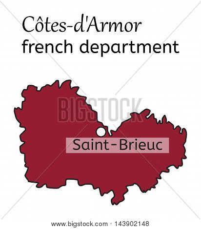 Cotes-dArmor french department map on white in vector