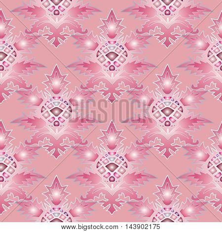 Pink abstract modern vector seamless pattern background with vintage ornaments in Eastern style. Luxury  illustration and 3d vintage decor elements with shadow and highlights. Endless elegant  texture.
