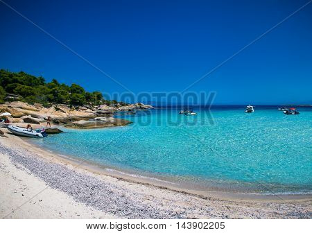 Beautiful beach on Diaporos island near Sithonia on Halkidiki, Greece.