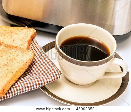 Coffee And Toast Indicates Morning Meal And Break