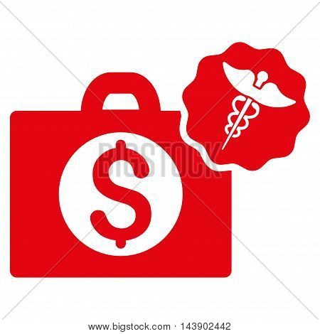 Medical Business icon. Vector style is flat iconic symbol with rounded angles, red color, white background.