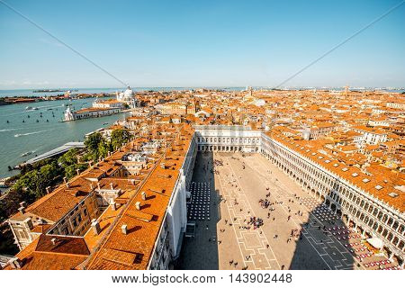Aerial panoramic cityscape view on San Marco square in Venice