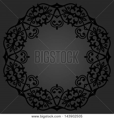 Oriental pattern with arabesques and floral elements. Traditional classic dark ornament