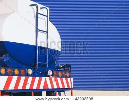 Fuel Truck Oil Industrial Tanker Transportation on Blue background
