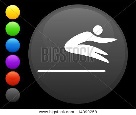 long jump icon on round internet button original vector illustration 6 color versions included