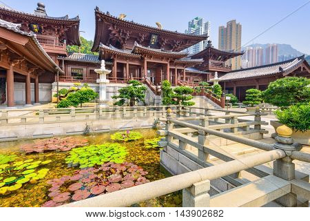 HONG KONG, CHINA - OCTOBER 11, 2012: Chi Lin Nunnery, a Buddhist Monastery in Hong Kong, China.