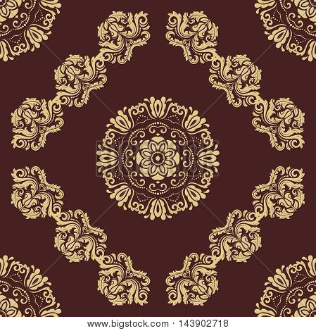 Oriental classic golden pattern. Seamless abstract background with repeating elements