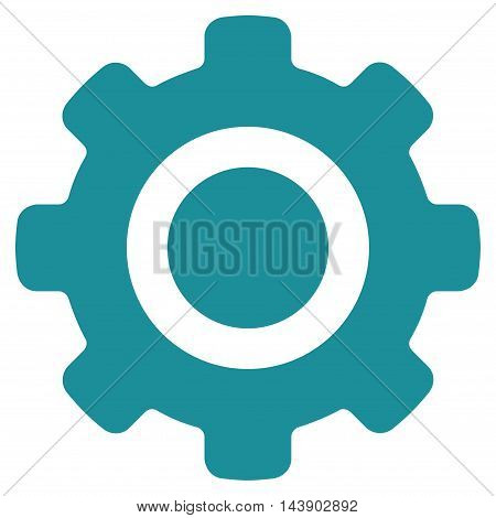 Gear icon. Vector style is flat iconic symbol with rounded angles, soft blue color, white background.