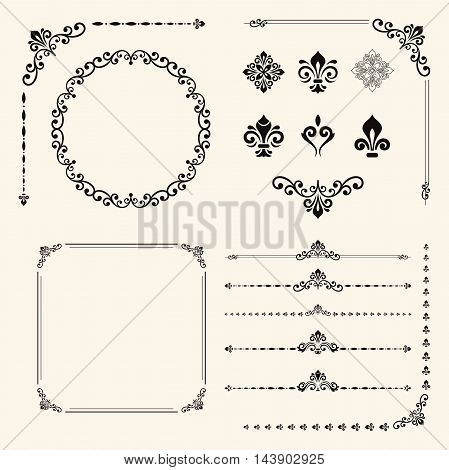 Vintage set of elements. Different patterns for decoration and design frames, cards, menus, backgrounds and monogram. Collection of floral ornaments