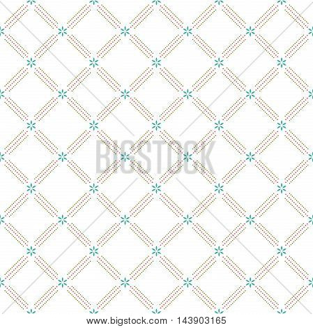 Geometric repeating ornament with diagonal dotted lines. Seamless abstract modern pattern