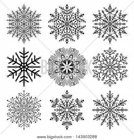 Set of snowflakes. Fine winter ornament. Snowflake collection