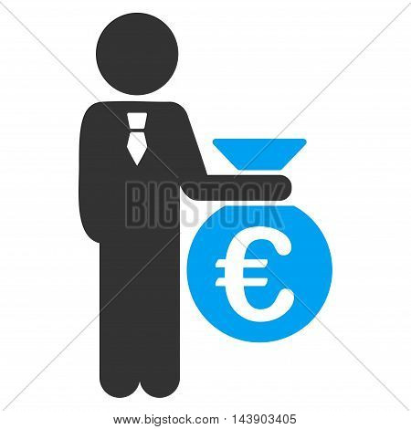Euro Banker icon. Vector style is bicolor flat iconic symbol with rounded angles, blue and gray colors, white background.
