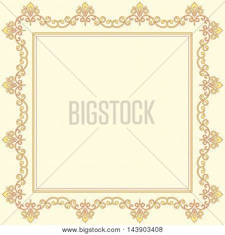 Classic square frame with arabesques and orient elements. Abstract colored ornament with place for text