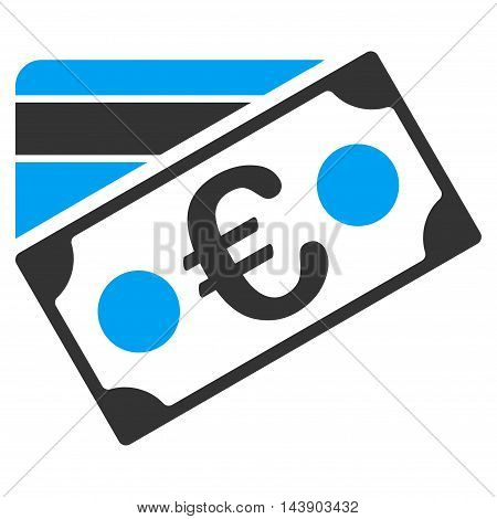 Euro Banknote and Credit Card icon. Vector style is bicolor flat iconic symbol with rounded angles, blue and gray colors, white background.