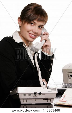 Young beautifull businesswoman talking on the phone