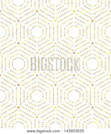 Geometric repeating ornament with hexagonal colorful dotted elements. Seamless abstract modern pattern