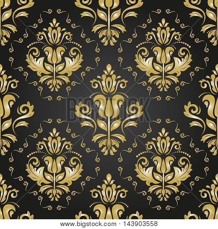 Seamless oriental golden ornament in the style of baroque. Traditional classic pattern