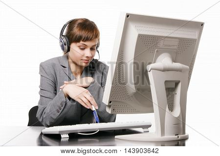 Young beautiful telephone operator on white background