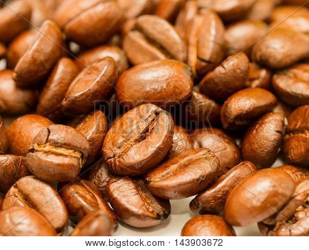 Roasted Coffee Beans Represents Hot Drink And Brown