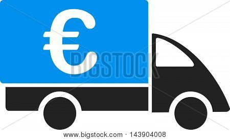 Euro Collector Car icon. Vector style is bicolor flat iconic symbol with rounded angles, blue and gray colors, white background.