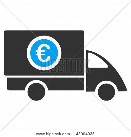 Euro Delivery icon. Vector style is bicolor flat iconic symbol with rounded angles, blue and gray colors, white background.