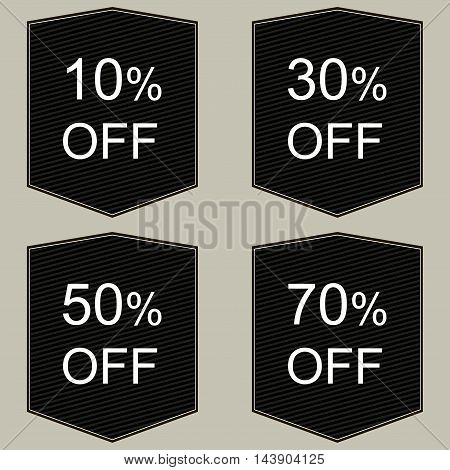 Discount price tags. Vector in black and white.