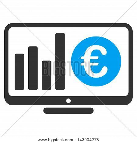 Euro Market Monitoring icon. Vector style is bicolor flat iconic symbol with rounded angles, blue and gray colors, white background.