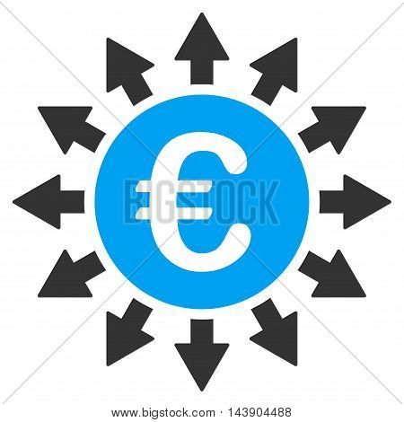 Euro Payments icon. Vector style is bicolor flat iconic symbol with rounded angles, blue and gray colors, white background.