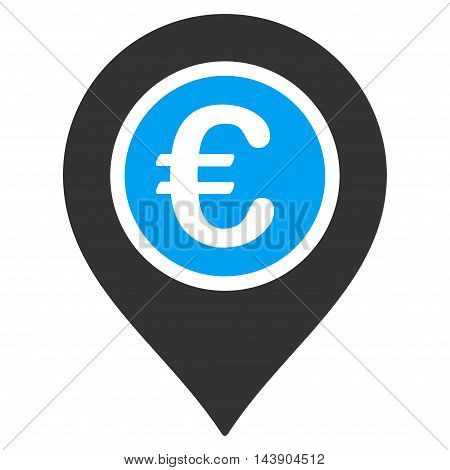 Euro Pointer icon. Vector style is bicolor flat iconic symbol with rounded angles, blue and gray colors, white background.