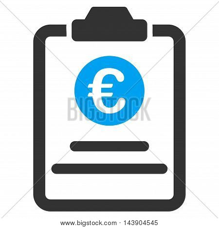 Euro Prices Pad icon. Vector style is bicolor flat iconic symbol with rounded angles, blue and gray colors, white background.