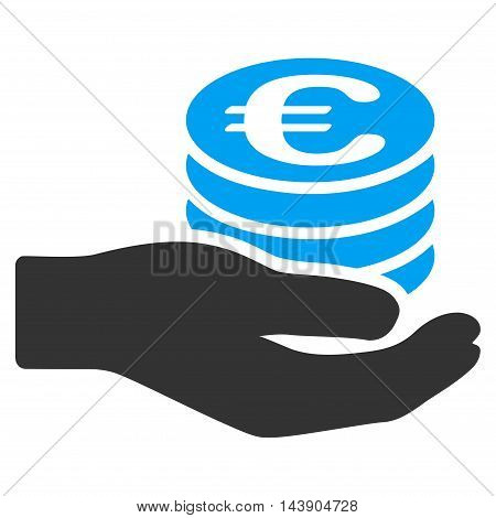 Euro Salary icon. Vector style is bicolor flat iconic symbol with rounded angles, blue and gray colors, white background.