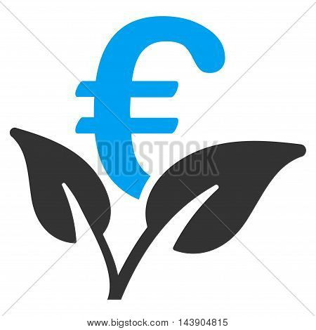Euro Startup Sprout icon. Vector style is bicolor flat iconic symbol with rounded angles, blue and gray colors, white background.