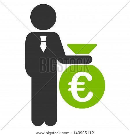 Euro Banker icon. Vector style is bicolor flat iconic symbol with rounded angles, eco green and gray colors, white background.