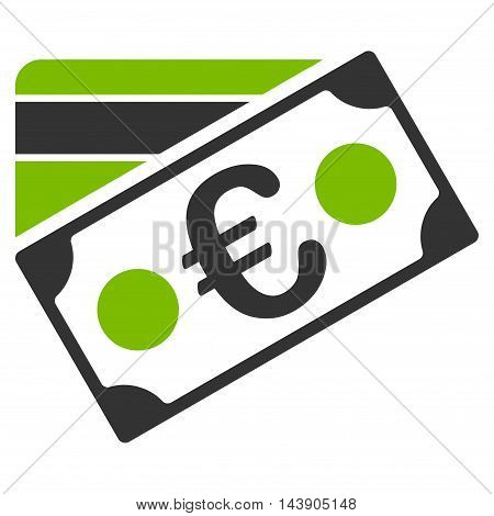 Euro Banknote and Credit Card icon. Vector style is bicolor flat iconic symbol with rounded angles, eco green and gray colors, white background.