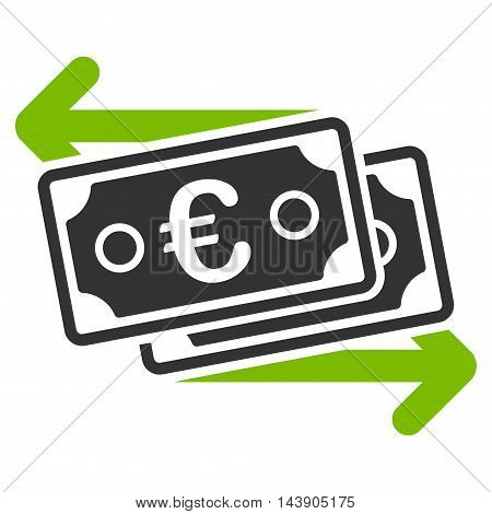 Euro Banknotes Change icon. Vector style is bicolor flat iconic symbol with rounded angles, eco green and gray colors, white background.