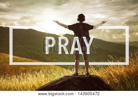 Pray Confession Faith Religion Thankfulness Concept .