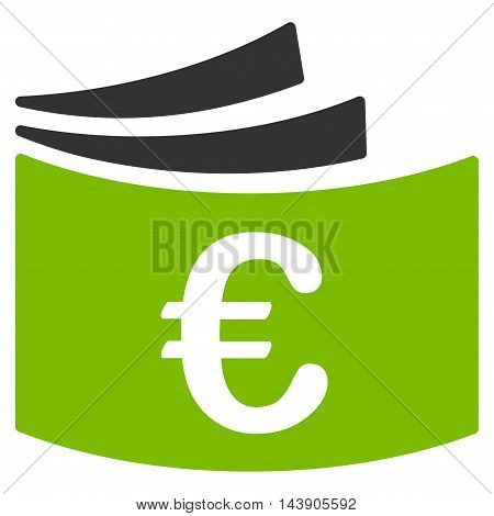 Euro Checkbook icon. Vector style is bicolor flat iconic symbol with rounded angles, eco green and gray colors, white background.