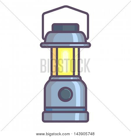 Camping lantern, Oil lantern icon cartoon. Vector Illustration.