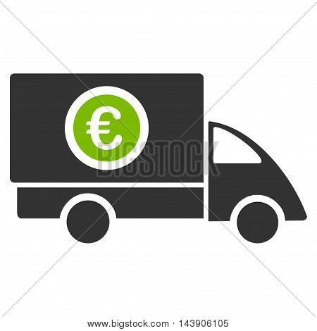Euro Delivery icon. Vector style is bicolor flat iconic symbol with rounded angles, eco green and gray colors, white background.