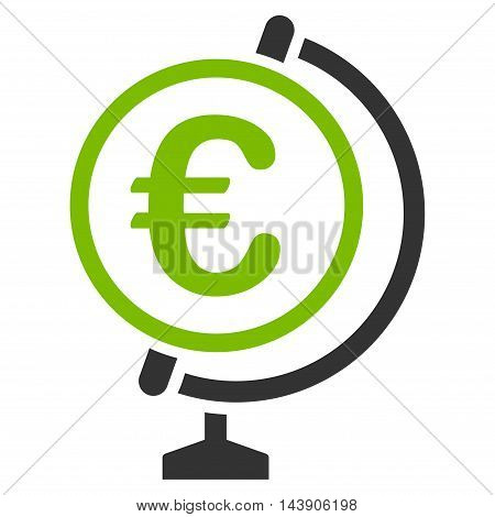 Euro Globe icon. Vector style is bicolor flat iconic symbol with rounded angles, eco green and gray colors, white background.