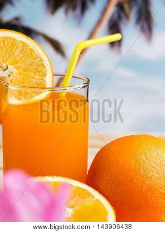 Healthy Orange Drink Indicates Vitamin C And Oranges