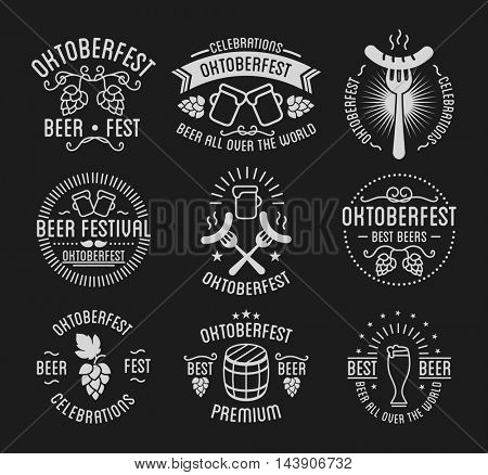 Oktoberfest beer festival lettering typography set celebration retro typographic design templates labels, badges and logos. Vector Illustration.