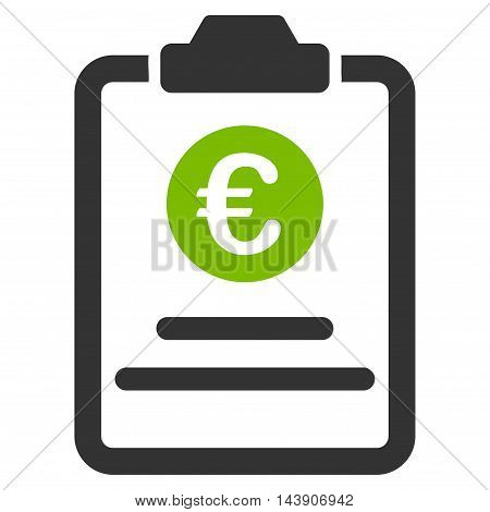 Euro Prices Pad icon. Vector style is bicolor flat iconic symbol with rounded angles, eco green and gray colors, white background.