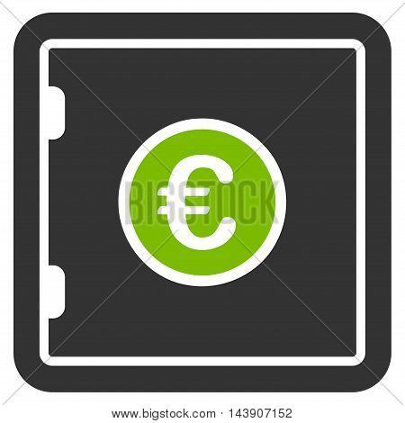 Euro Safe icon. Vector style is bicolor flat iconic symbol with rounded angles, eco green and gray colors, white background.