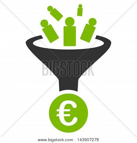 Euro Sale Conversion icon. Vector style is bicolor flat iconic symbol with rounded angles, eco green and gray colors, white background.