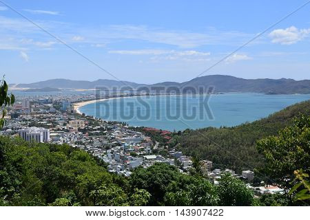 Aerial View Of Southeast Asia Town Near The Bay In Quy Nhon